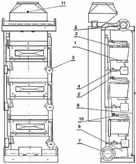 Схема модуля нагріву МН 80, 100, 120
