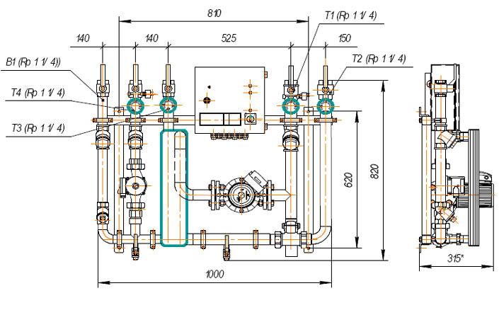 Габаритно-приєднувальні розміри УГВНС-150