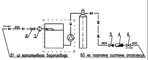 Схема підключення автоматичної водопідготовки типу DHF