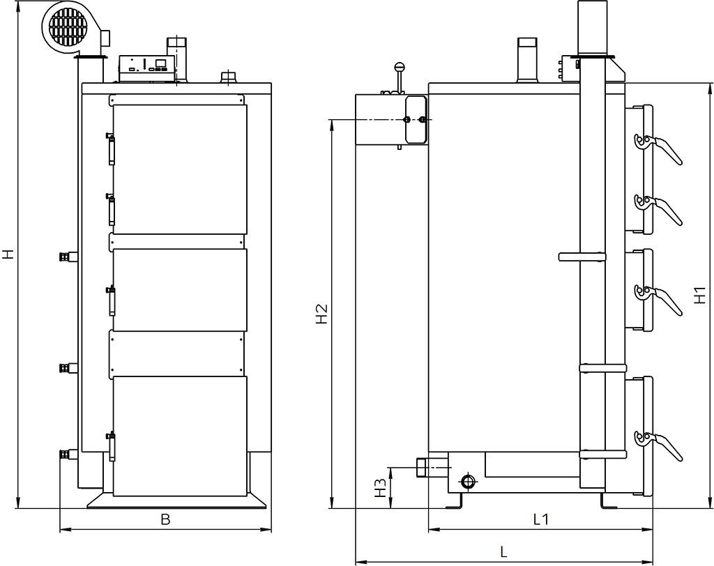 Габаритні розміри котла КТ-2Е 17-38 кВт