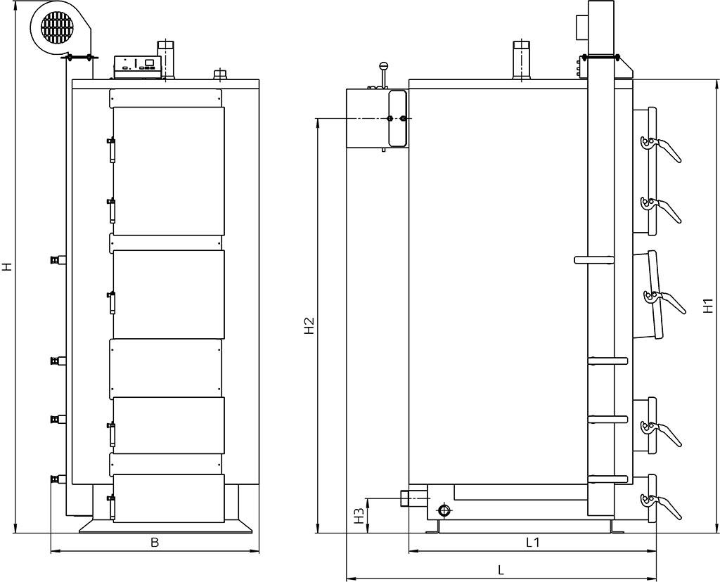 Габаритні розміри котла КТ-2Е 50-120 кВт